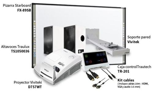 KIT PIZARRA FX-89WE1+ Proyector Ultra Corta Distancia Vivitek D757WT + Soporte De pared + Altavoces + Cajas De Conexiones + Cables De 10mts + Cable HDMI'
