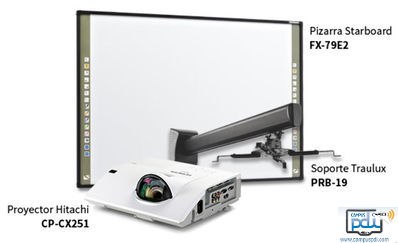 Nueva Pizarra Interactiva Hitachi StartBoard FX-79E2  Video proyector tiro corto Hitachi CP- CX251 , incluye soporte de pared.