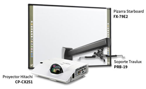Pizarra Interactiva Hitachi StartBoard FX-79E2 Video proyector tiro corto Hitachi CP- CX251 , incluye soporte de pared.