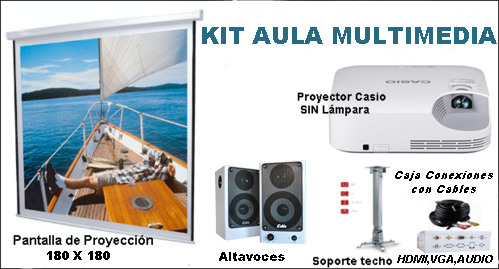 KIT AULA MULTIMEDIA: Pantalla de Proyección Manual Traulux 180 x 180